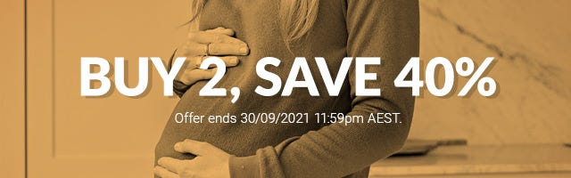 Buy 2, save 40% on maternity and nursing clothing