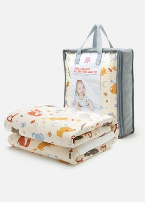 Temp. Balance Cot 2 Quilts & Cover Set Zoo