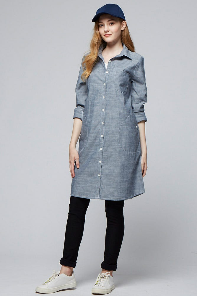 Chambray Maternity & Nursing Shirt Dress