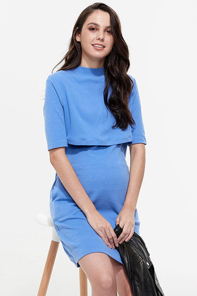 Cotton Maternity & Nursing Dress with Turtle Neck