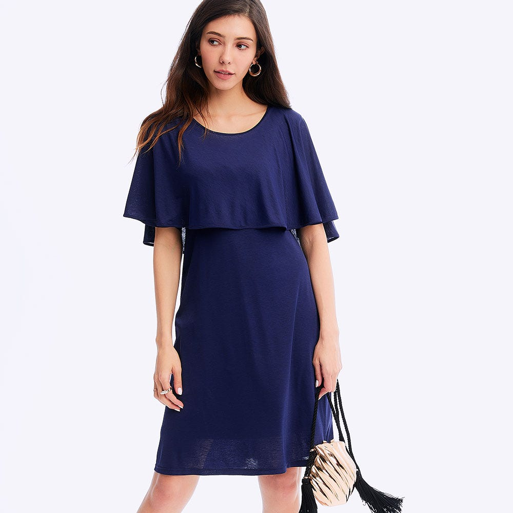 Ruffle Sleeve Maternity & Nursing Dress