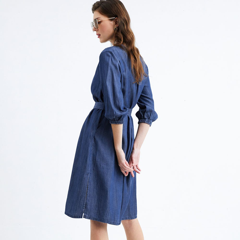 Denim Midi Maternity & Nursing Shirt Dress