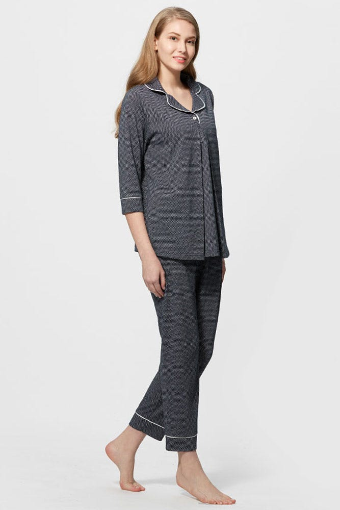 Dotted Maternity & Nursing Shirt Pyjama Set