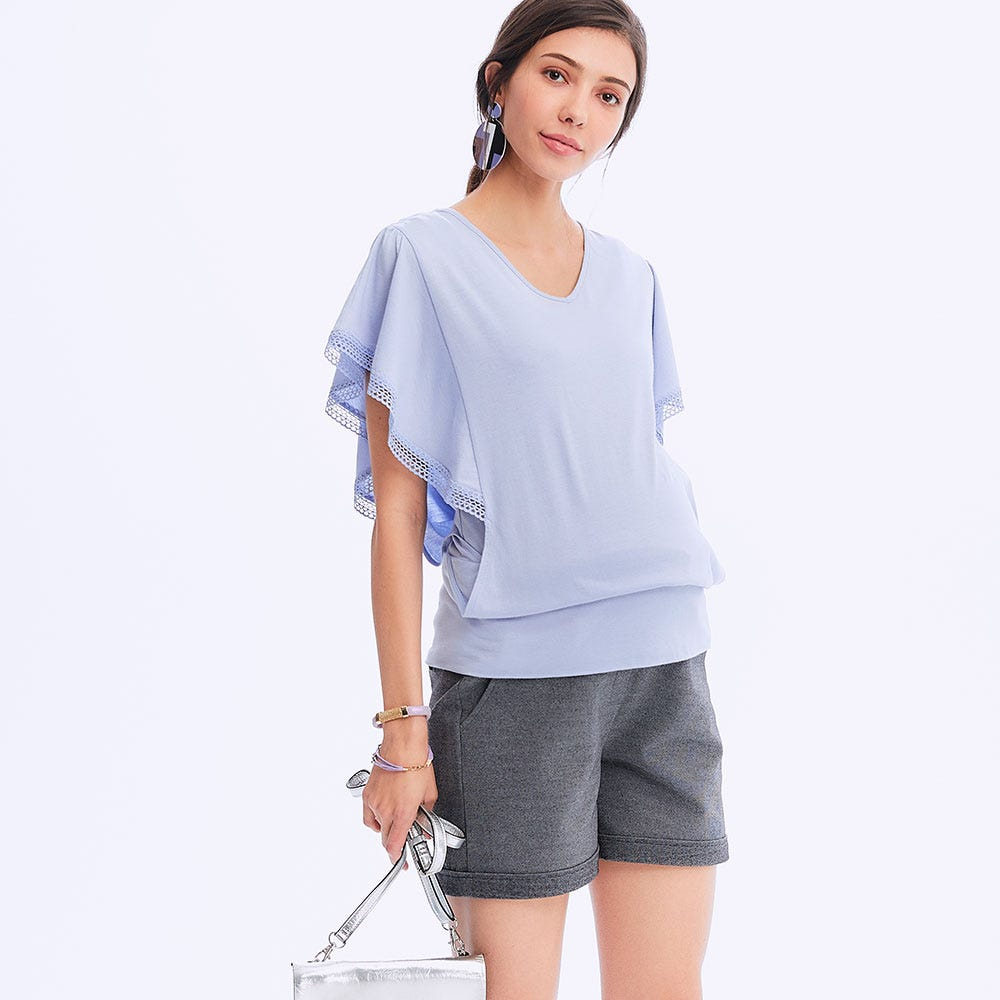 Ruffle Sleeve Maternity & Nursing Top