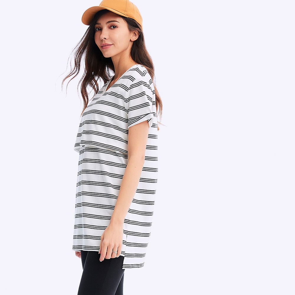 Stripe Maternity & Nursing Long Top